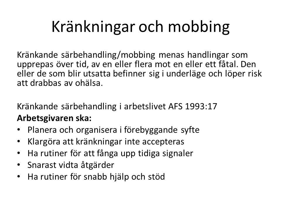 Kränkningar och mobbing Kränkande särbehandling/mobbing menas handlingar som upprepas över tid, av en eller flera mot en eller ett fåtal. Den eller de