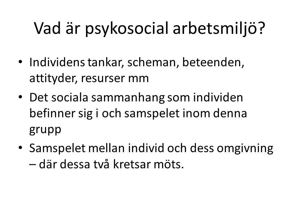 Vad är psykosocial arbetsmiljö? • Individens tankar, scheman, beteenden, attityder, resurser mm • Det sociala sammanhang som individen befinner sig i