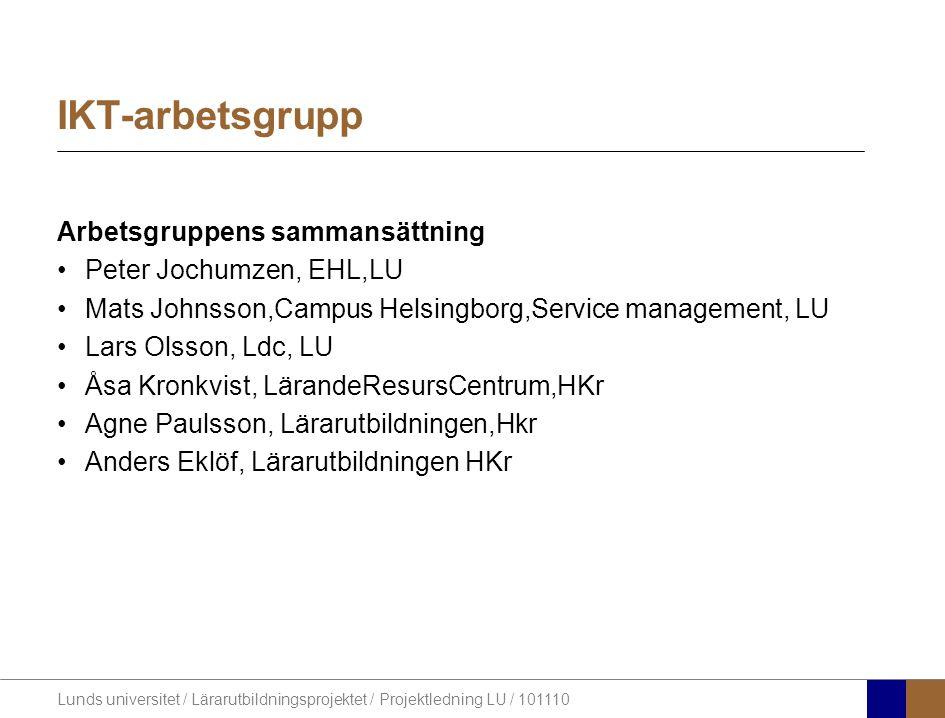 Lunds universitet / Lärarutbildningsprojektet / Projektledning LU / 101110 Projektled.