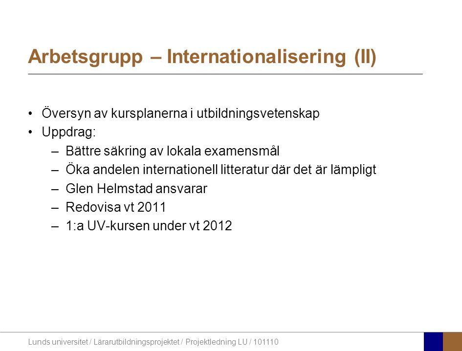 Lunds universitet / Lärarutbildningsprojektet / Projektledning LU / 101110 Bemanning Ämnen ht11%LU%HkrAntal stud.