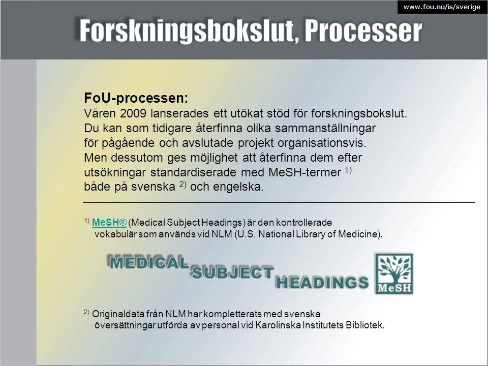 1) MeSH® (Medical Subject Headings) är den kontrolleradeMeSH® vokabulär som används vid NLM (U.S. National Library of Medicine). 2) Originaldata från