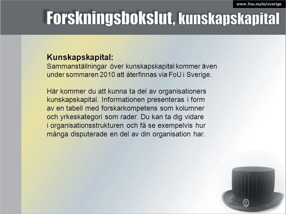 Kunskapskapital: Sammanställningar över kunskapskapital kommer även under sommaren 2010 att återfinnas via FoU i Sverige. Här kommer du att kunna ta d