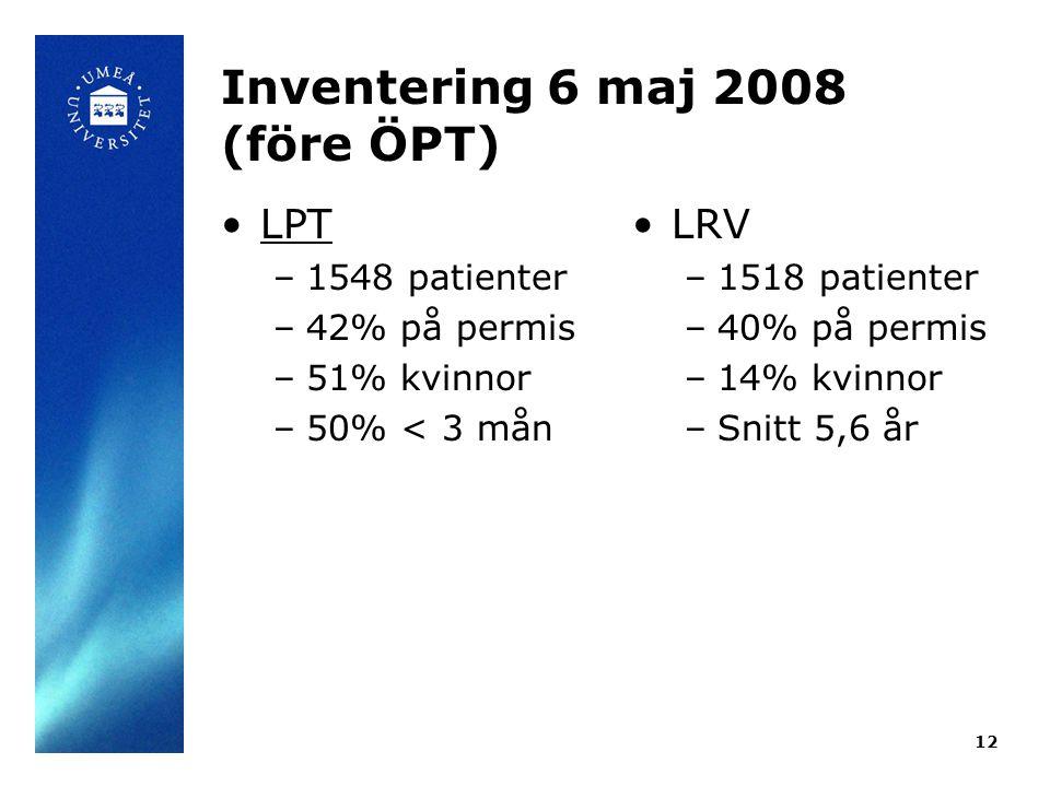 Inventering 6 maj 2008 (före ÖPT) •LPT –1548 patienter –42% på permis –51% kvinnor –50% < 3 mån •LRV –1518 patienter –40% på permis –14% kvinnor –Snitt 5,6 år 12