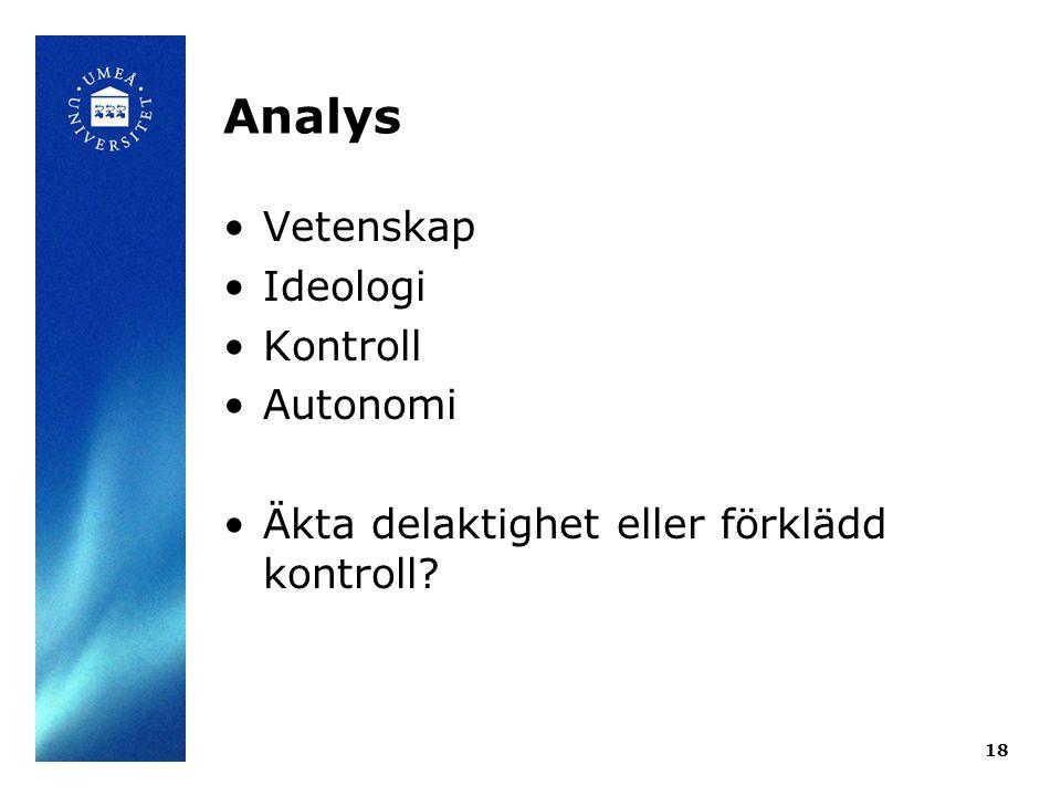 Analys •Vetenskap •Ideologi •Kontroll •Autonomi •Äkta delaktighet eller förklädd kontroll? 18