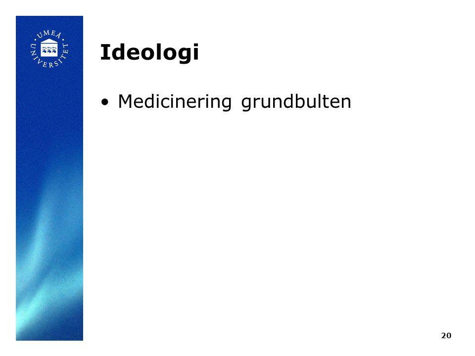 Ideologi •Medicinering grundbulten 20