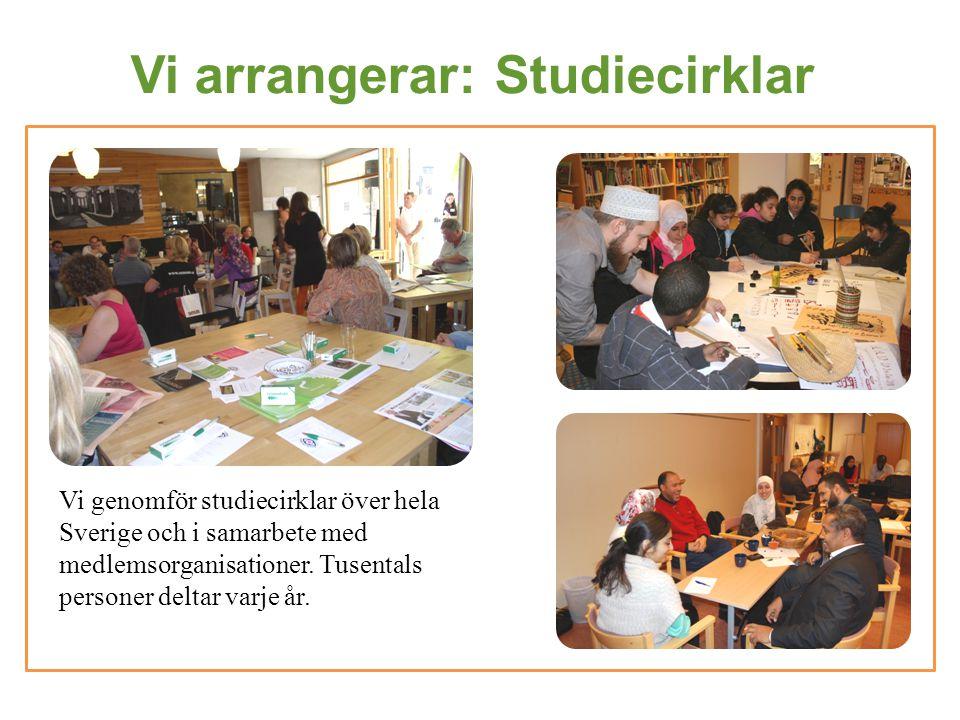 Vi arrangerar: Studiecirklar Vi genomför studiecirklar över hela Sverige och i samarbete med medlemsorganisationer. Tusentals personer deltar varje år