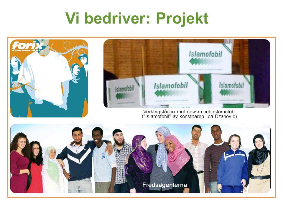 """Vi bedriver: Projekt Verktygslådan mot rasism och islamofobi (""""Islamofobil"""" av konstnären Ida Dzanovic) Fredsagenterna"""