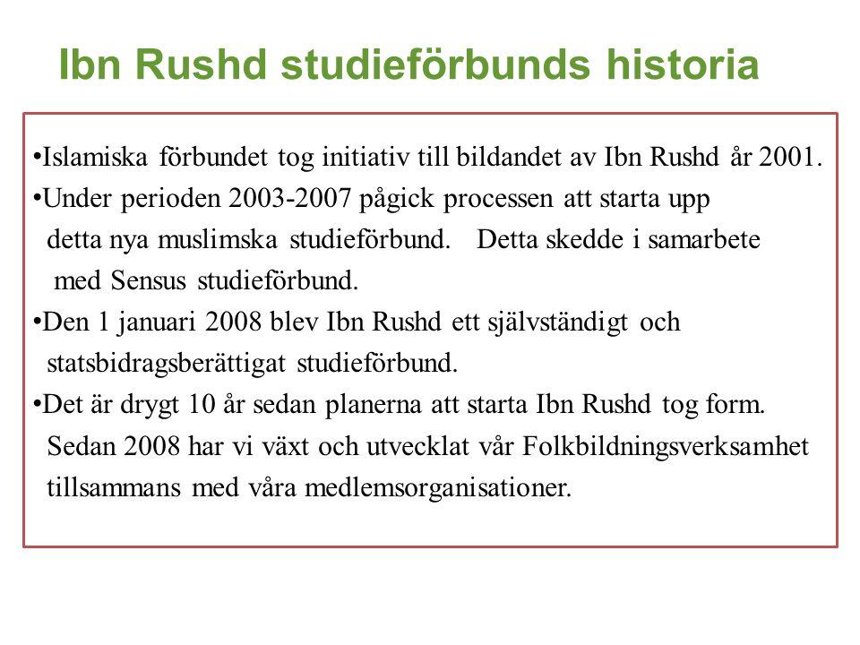 Ibn Rushd studieförbunds historia • Islamiska förbundet tog initiativ till bildandet av Ibn Rushd år 2001. • Under perioden 2003-2007 pågick processen