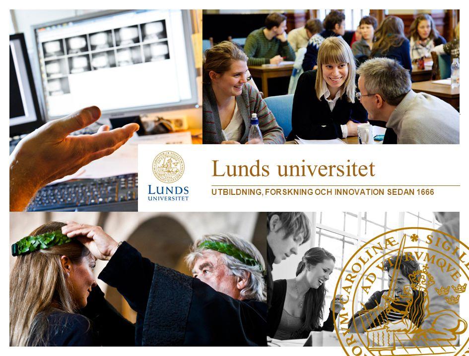 Lunds universitet •Grundat 1666 •47 000 studenter •Nästan 3 000 forskarstuderande •6 800 anställda •Omkring 650 professorer •800 universitetslektorer •1 200 övriga forskare och lärare •Årsomsättning 6,5 miljarder – 1/3 utbildning, 2/3 forskning