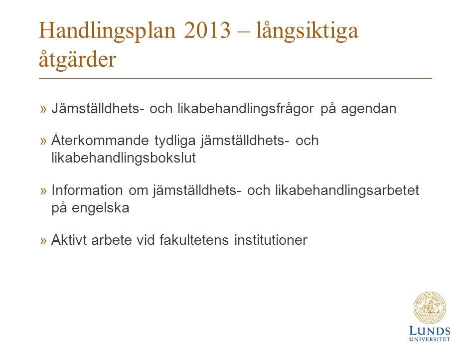 Handlingsplan 2013 – långsiktiga åtgärder »Jämställdhets- och likabehandlingsfrågor på agendan »Återkommande tydliga jämställdhets- och likabehandling