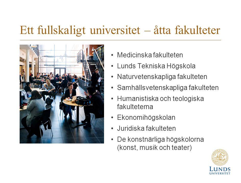 Ett fullskaligt universitet – åtta fakulteter •Medicinska fakulteten •Lunds Tekniska Högskola •Naturvetenskapliga fakulteten •Samhällsvetenskapliga fa