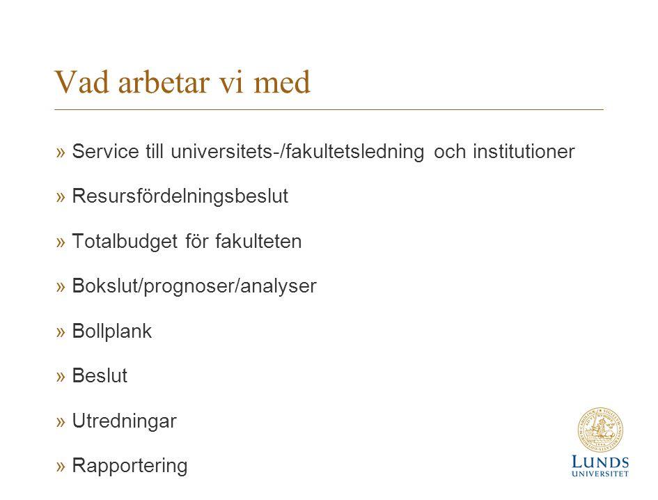 Vad arbetar vi med »Service till universitets-/fakultetsledning och institutioner »Resursfördelningsbeslut »Totalbudget för fakulteten »Bokslut/progno