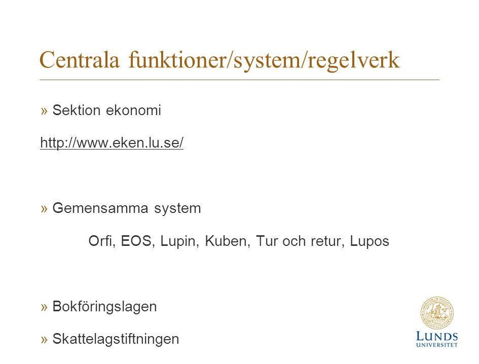 Centrala funktioner/system/regelverk »Sektion ekonomi http://www.eken.lu.se/ »Gemensamma system Orfi, EOS, Lupin, Kuben, Tur och retur, Lupos »Bokföri