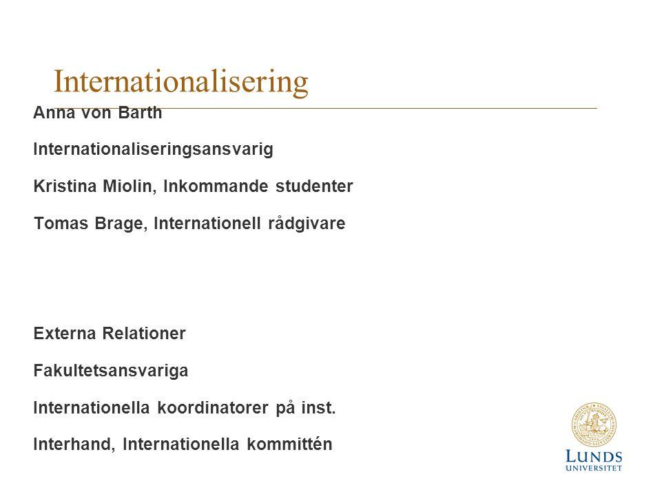 Internationalisering Anna von Barth Internationaliseringsansvarig Kristina Miolin, Inkommande studenter Tomas Brage, Internationell rådgivare Externa Relationer Fakultetsansvariga Internationella koordinatorer på inst.