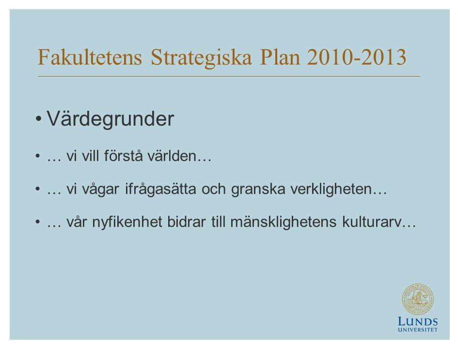 Fakultetens Strategiska Plan 2010-2013 •Värdegrunder •… vi vill förstå världen… •… vi vågar ifrågasätta och granska verkligheten… •… vår nyfikenhet bidrar till mänsklighetens kulturarv…