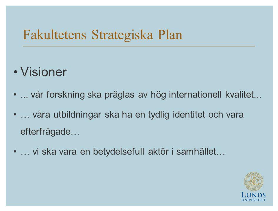 Fakultetens Strategiska Plan •Visioner •... vår forskning ska präglas av hög internationell kvalitet... •… våra utbildningar ska ha en tydlig identite
