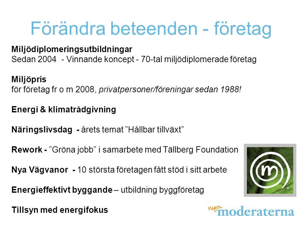 Förändra beteenden - företag Miljödiplomeringsutbildningar Sedan 2004 - Vinnande koncept - 70-tal miljödiplomerade företag Miljöpris för företag fr o m 2008, privatpersoner/föreningar sedan 1988.