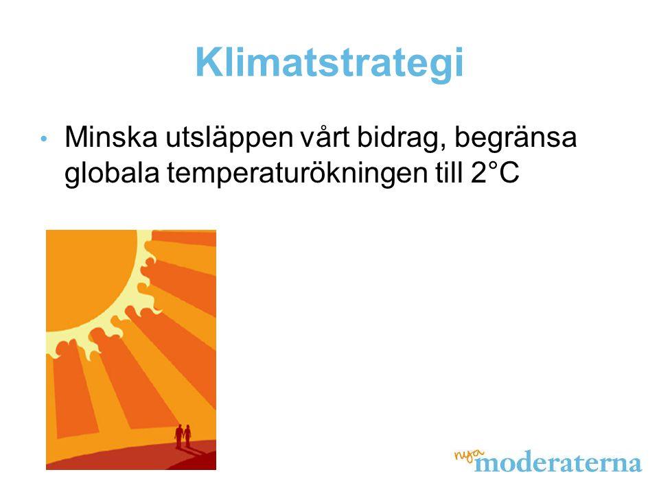 Klimatstrategi • Minska utsläppen vårt bidrag, begränsa globala temperaturökningen till 2°C