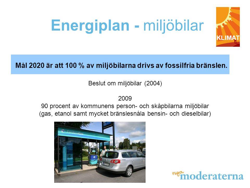 Energiplan - miljöbilar Mål 2020 är att 100 % av miljöbilarna drivs av fossilfria bränslen.