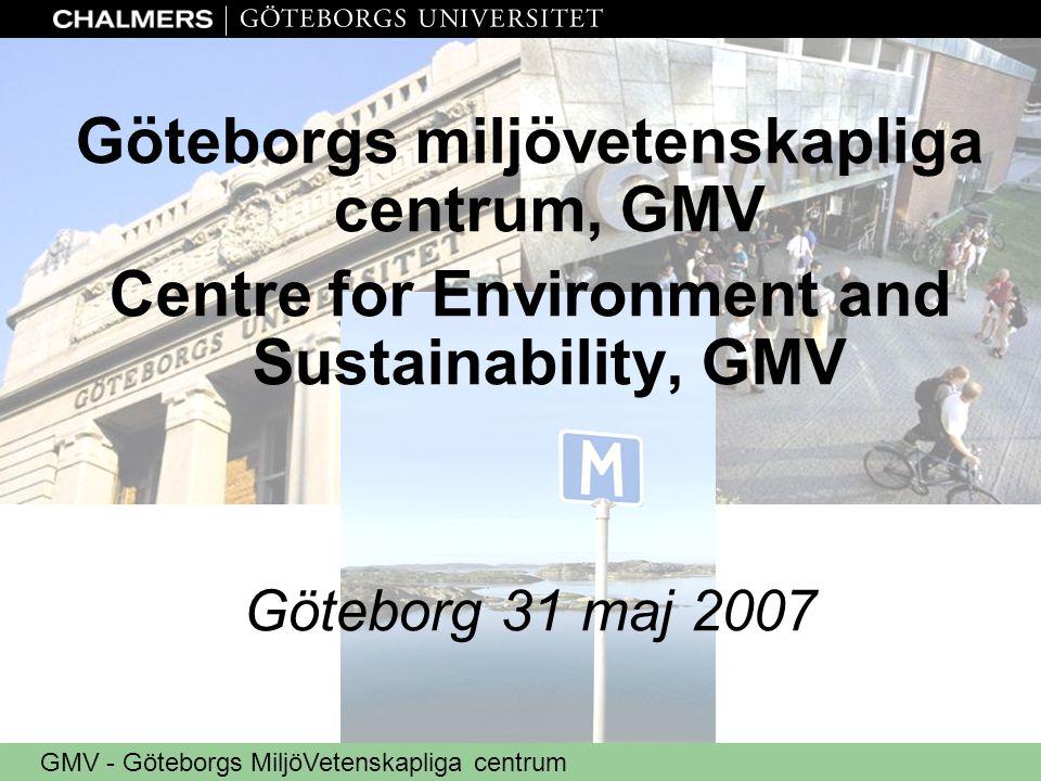 GMV - Göteborgs MiljöVetenskapliga centrum Göteborgs miljövetenskapliga centrum, GMV Centre for Environment and Sustainability, GMV Göteborg 31 maj 20