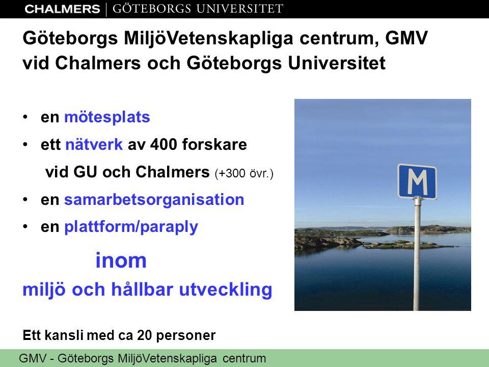 GMV - Göteborgs MiljöVetenskapliga centrum Göteborgs MiljöVetenskapliga centrum, GMV vid Chalmers och Göteborgs Universitet •en mötesplats •ett nätverk av 400 forskare vid GU och Chalmers (+300 övr.) •en samarbetsorganisation •en plattform/paraply inom miljö och hållbar utveckling Ett kansli med ca 20 personer