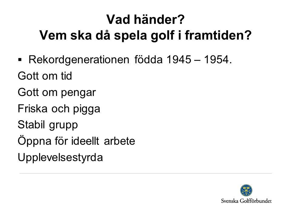Vad händer? Vem ska då spela golf i framtiden?  Rekordgenerationen födda 1945 – 1954. Gott om tid Gott om pengar Friska och pigga Stabil grupp Öppna