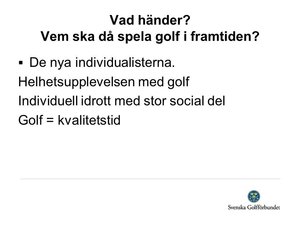 Vad händer? Vem ska då spela golf i framtiden?  De nya individualisterna. Helhetsupplevelsen med golf Individuell idrott med stor social del Golf = k