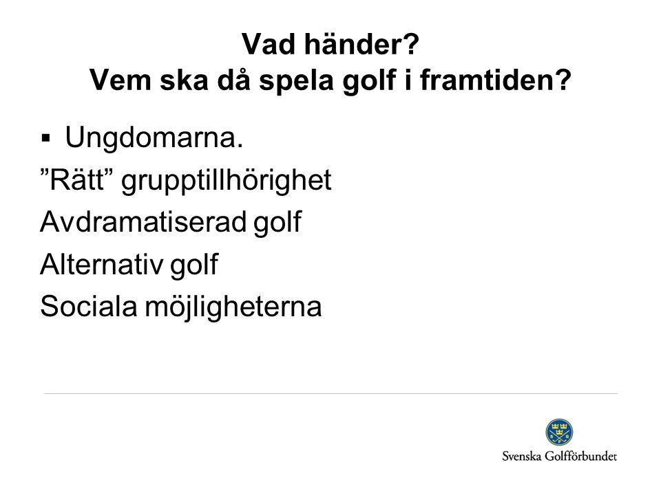 """Vad händer? Vem ska då spela golf i framtiden?  Ungdomarna. """"Rätt"""" grupptillhörighet Avdramatiserad golf Alternativ golf Sociala möjligheterna"""