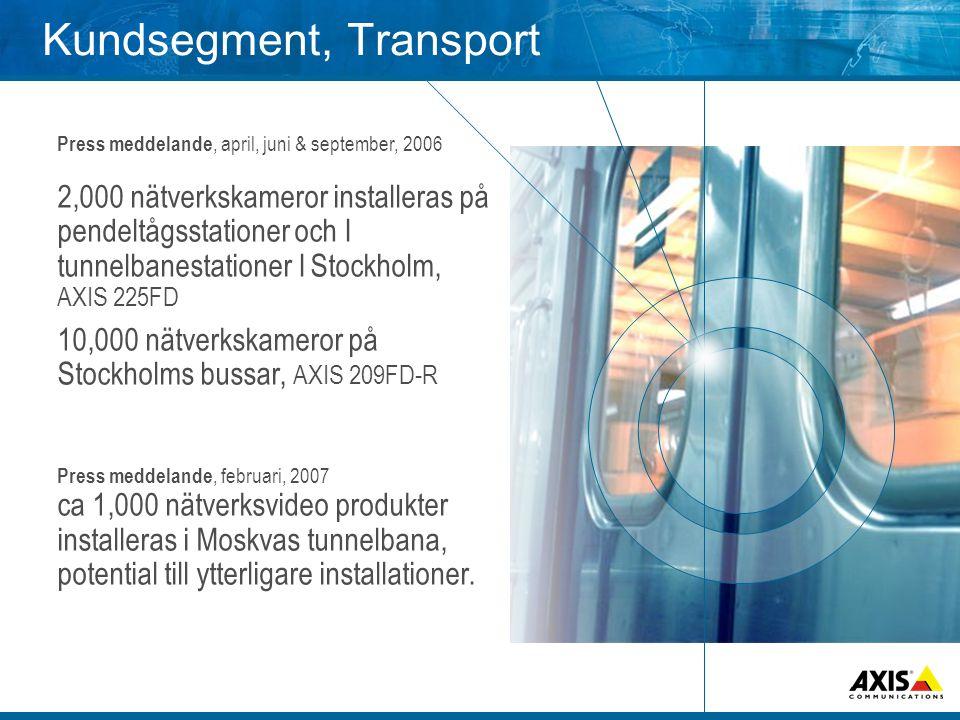 Kundsegment, Transport Press meddelande, april, juni & september, 2006 2,000 nätverkskameror installeras på pendeltågsstationer och I tunnelbanestationer I Stockholm, AXIS 225FD 10,000 nätverkskameror på Stockholms bussar, AXIS 209FD-R Press meddelande, februari, 2007 ca 1,000 nätverksvideo produkter installeras i Moskvas tunnelbana, potential till ytterligare installationer.