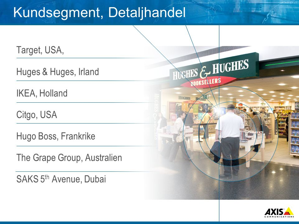 Kundsegment, Detaljhandel Target, USA, Huges & Huges, Irland IKEA, Holland Citgo, USA Hugo Boss, Frankrike The Grape Group, Australien SAKS 5 th Avenue, Dubai