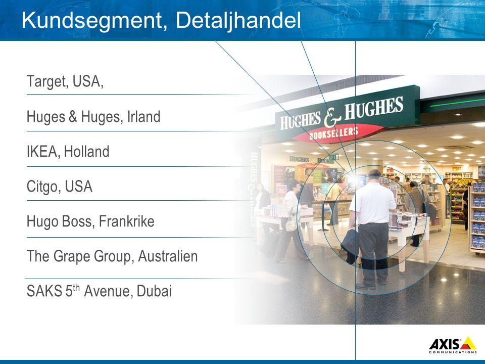 Kundsegment, Detaljhandel Target, USA, Huges & Huges, Irland IKEA, Holland Citgo, USA Hugo Boss, Frankrike The Grape Group, Australien SAKS 5 th Avenu