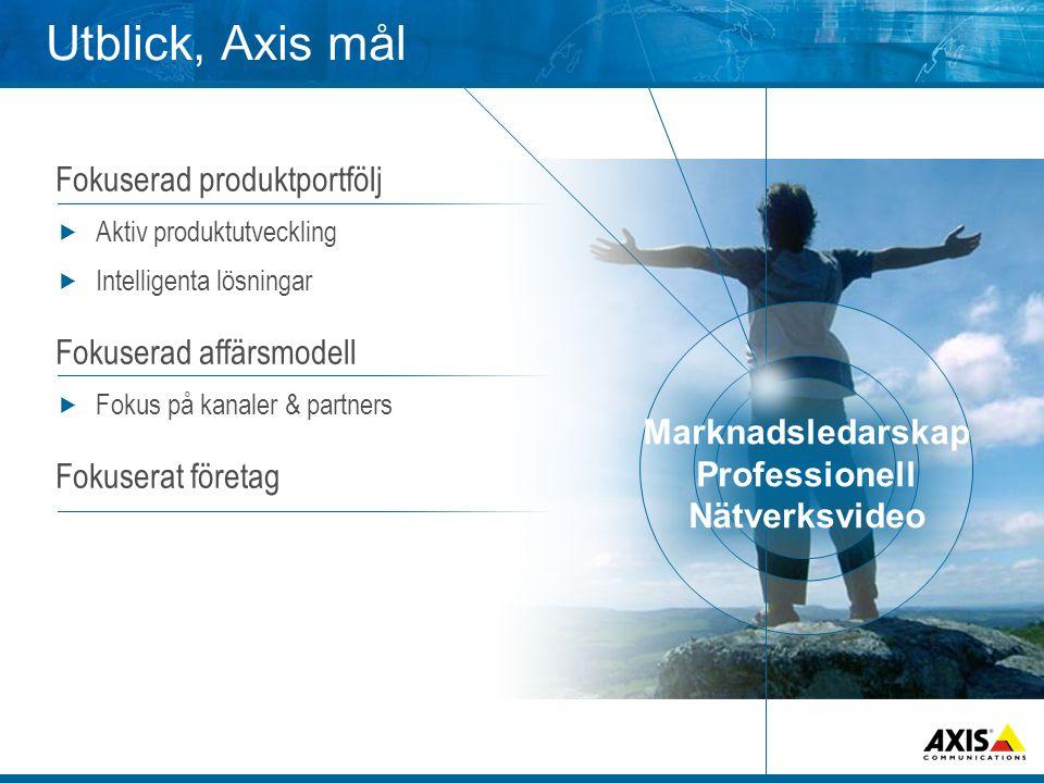 Utblick, Axis mål Fokuserad produktportfölj  Aktiv produktutveckling  Intelligenta lösningar Fokuserad affärsmodell  Fokus på kanaler & partners Fokuserat företag Marknadsledarskap Professionell Nätverksvideo