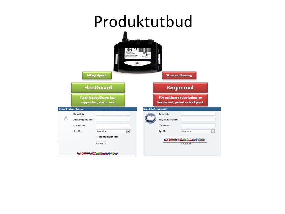 Produktutbud Standardlösning Körjournal För enklare redovisning av körda mil, privat och i tjänst Tilläggstjänst FleetGuard Realtidspositionering, rap