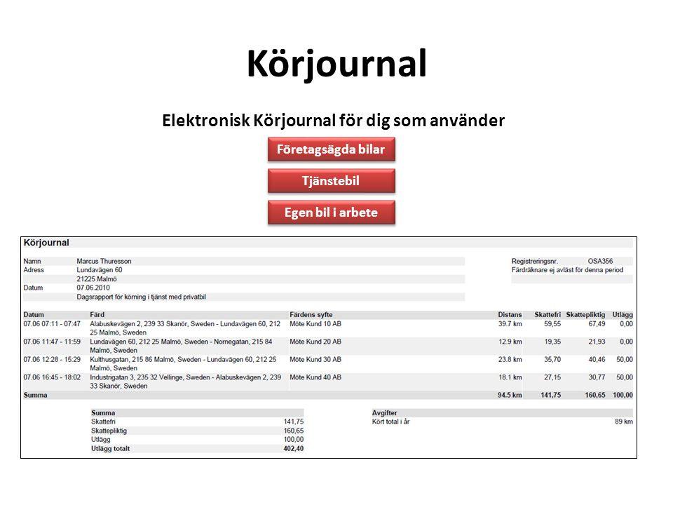 Körjournal Elektronisk Körjournal för dig som använder Tjänstebil Egen bil i arbete Företagsägda bilar Elektronisk Körjournal ger dig - Personlig till