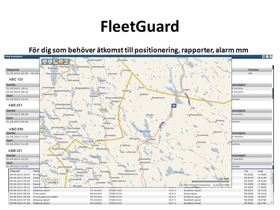 Visar vilka fordon som skall på service, besiktning mm. Informationen sänds som e-mail till fordonsansvarige Visar tidpunkt samt position för alkolås