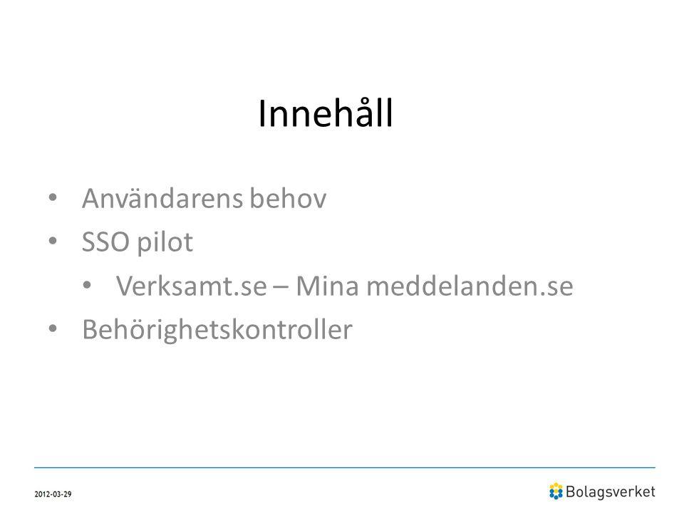 Innehåll • Användarens behov • SSO pilot • Verksamt.se – Mina meddelanden.se • Behörighetskontroller