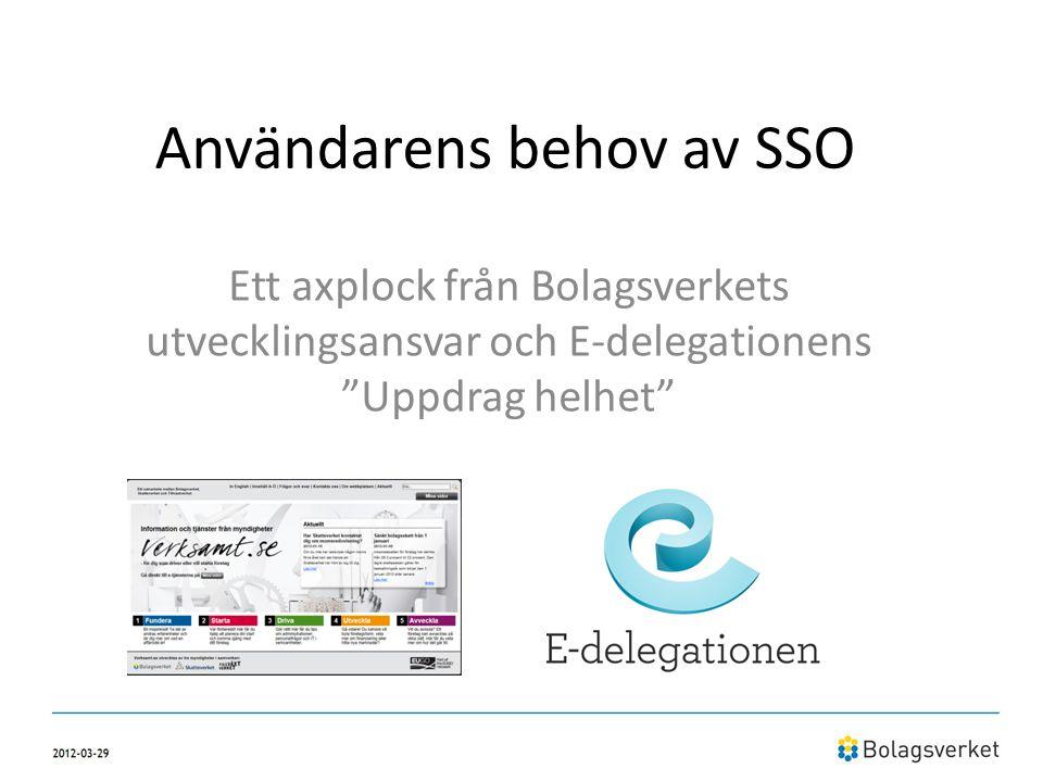 """Användarens behov av SSO Ett axplock från Bolagsverkets utvecklingsansvar och E-delegationens """"Uppdrag helhet"""""""