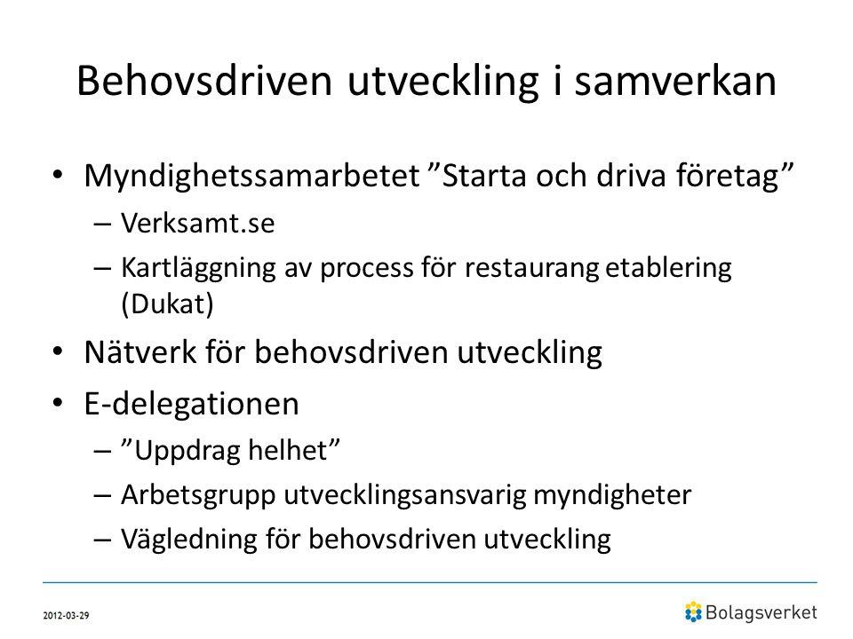 """Behovsdriven utveckling i samverkan • Myndighetssamarbetet """"Starta och driva företag"""" – Verksamt.se – Kartläggning av process för restaurang etablerin"""
