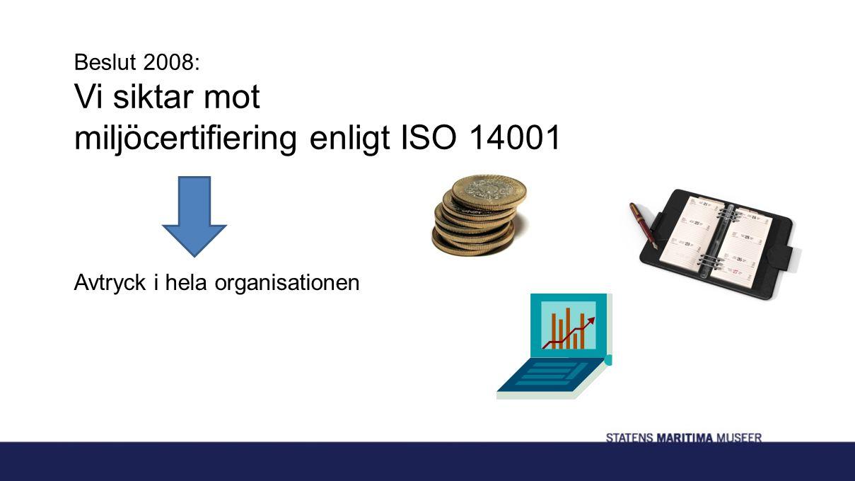 Beslut 2008: Vi siktar mot miljöcertifiering enligt ISO 14001 Avtryck i hela organisationen