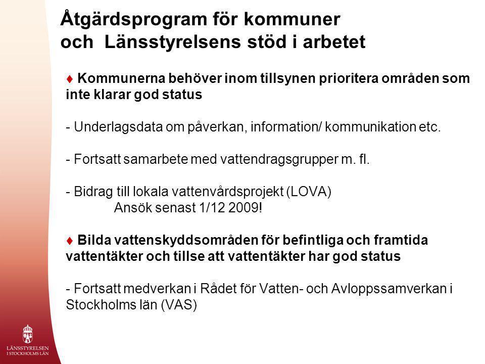 Åtgärdsprogram för kommuner och Länsstyrelsens stöd i arbetet  Kommunerna behöver inom tillsynen prioritera områden som inte klarar god status - Unde