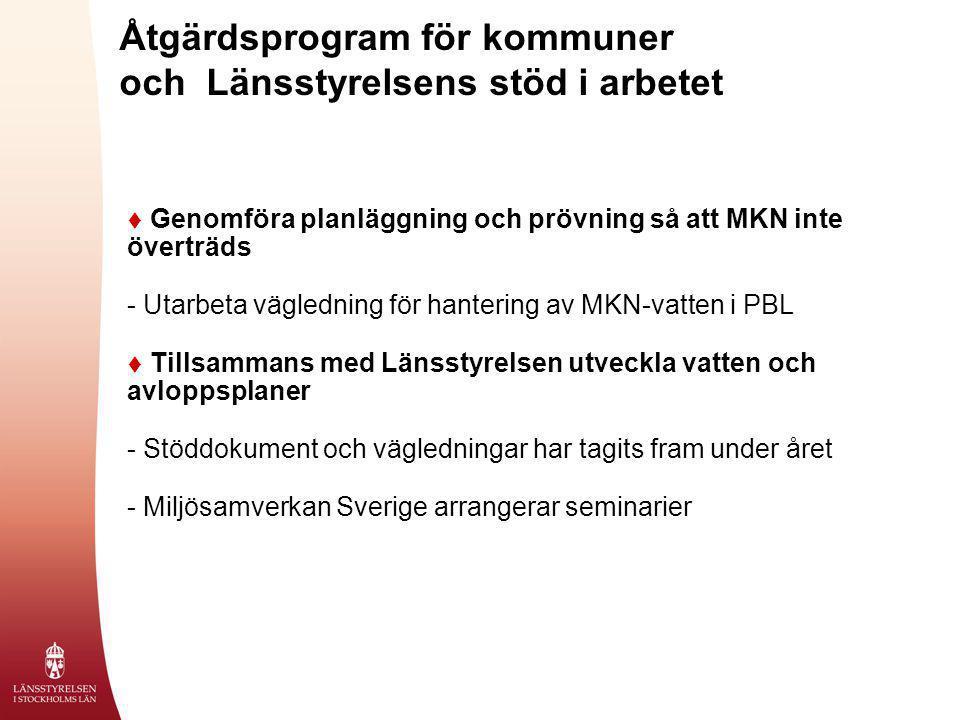 Åtgärdsprogram för kommuner och Länsstyrelsens stöd i arbetet  Genomföra planläggning och prövning så att MKN inte överträds - Utarbeta vägledning fö