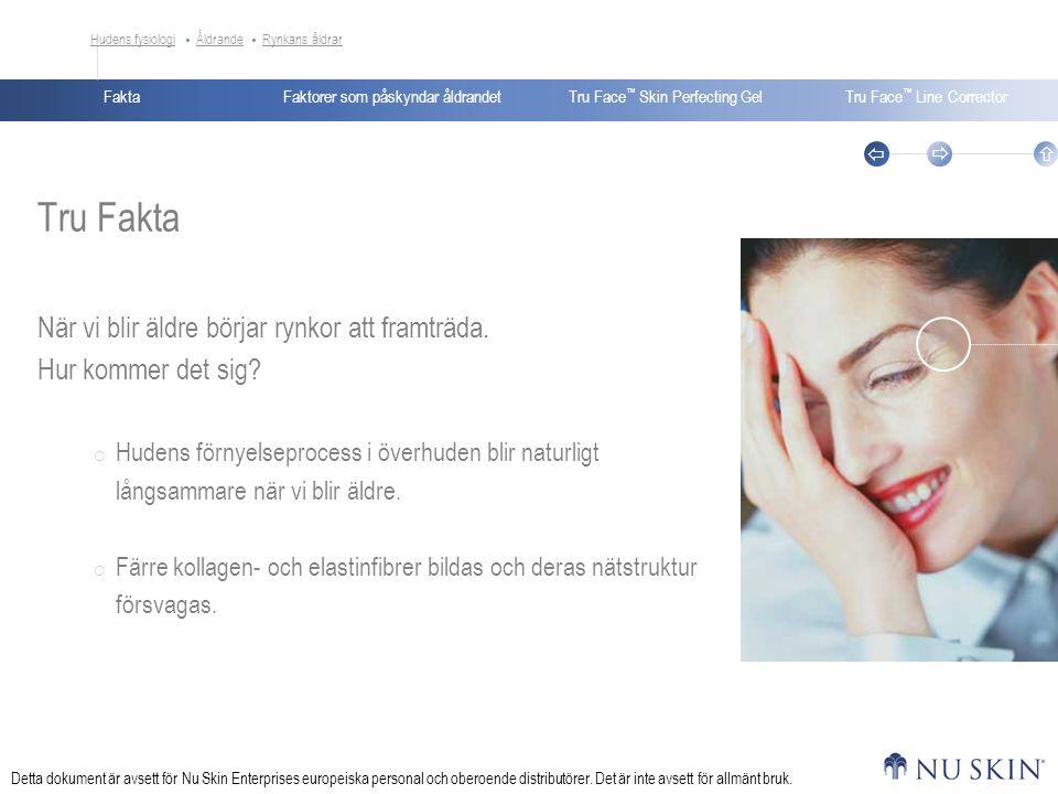 FaktaTru Face ™ Skin Perfecting GelTru Face ™ Line Corrector    Faktorer som påskyndar åldrandet Detta dokument är avsett för Nu Skin Enterprises europeiska personal och oberoende distributörer.