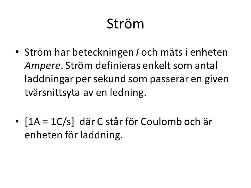 Ström • Ström har beteckningen I och mäts i enheten Ampere.