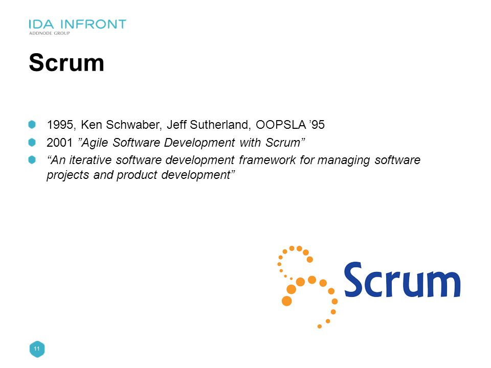 "11 Scrum 1995, Ken Schwaber, Jeff Sutherland, OOPSLA '95 2001 ""Agile Software Development with Scrum"" ""An iterative software development framework for"