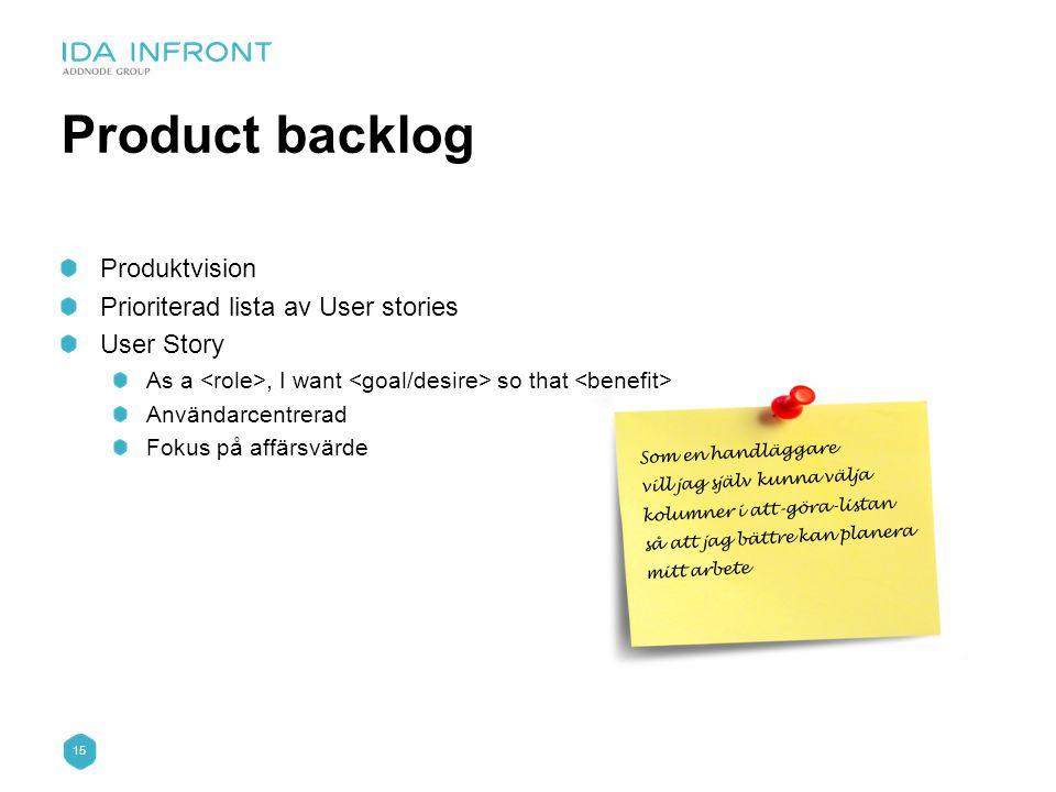 15 Som en handläggare vill jag själv kunna välja kolumner i att-göra-listan så att jag bättre kan planera mitt arbete Product backlog Produktvision Pr