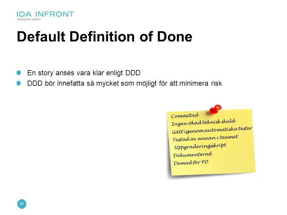 20 Default Definition of Done En story anses vara klar enligt DDD DDD bör innefatta så mycket som möjligt för att minimera risk Commitad Ingen ökad te