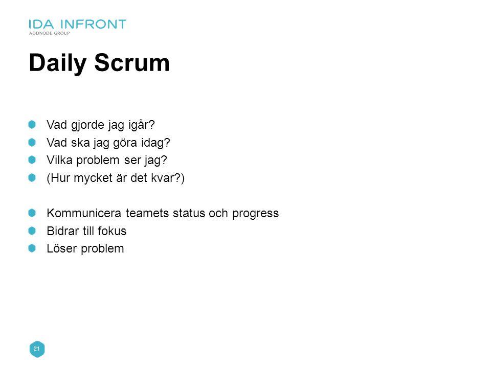 21 Daily Scrum Vad gjorde jag igår? Vad ska jag göra idag? Vilka problem ser jag? (Hur mycket är det kvar?) Kommunicera teamets status och progress Bi