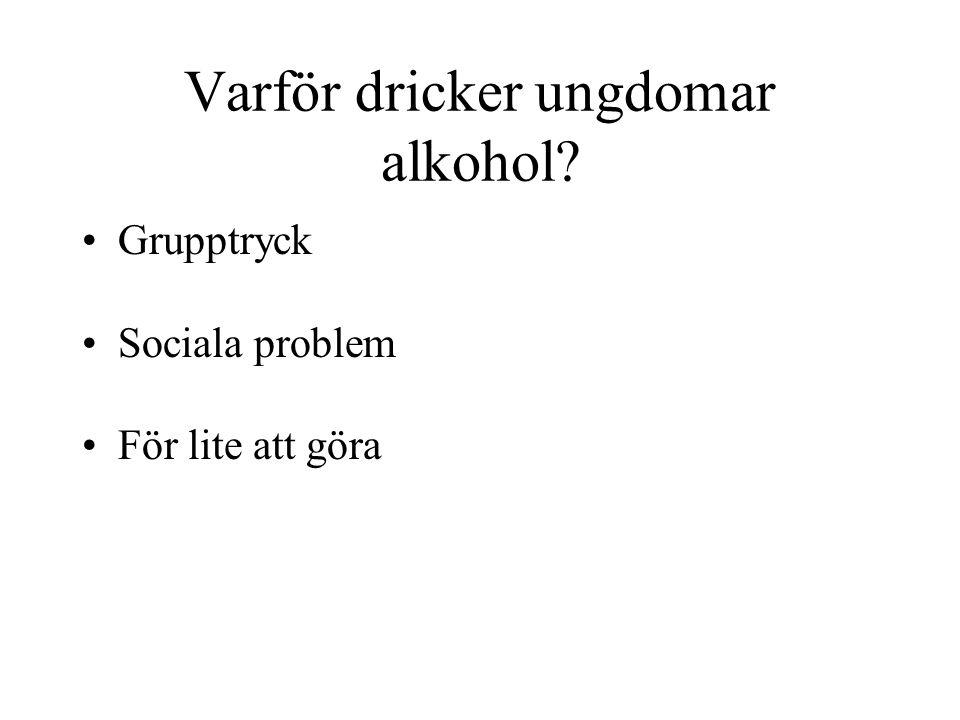 Varför dricker ungdomar alkohol? •Grupptryck •Sociala problem •För lite att göra