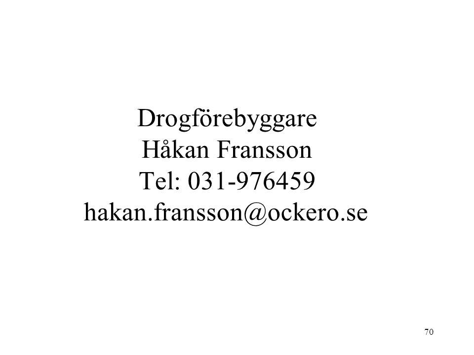 70 Drogförebyggare Håkan Fransson Tel: 031-976459 hakan.fransson@ockero.se