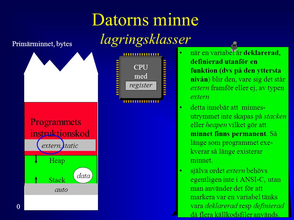 Anders Sjögren Lagringsklassen extern (sidoeffekter) #include #define RANTESATS 8.5 void NastaAr( void ); void TabellPaSkarmen( int ); float kapital; int main ( void ) { intantalAr; printf( Insatt kapital och antal år ?(-->1000 10)--> ); scanf( %f%d , &kapital, &antalAr); TabellPaSkarmen( antalAr ); return 0; } void TabellPaSkarmen( int antalAr ){ int ar ; printf( \n År Saldo\n == =====\n ); for ( ar = 1; ar <= antalAr; ar++ ) { NastaAr(); printf( %3d%11.2f\n , ar,kapital>0 .